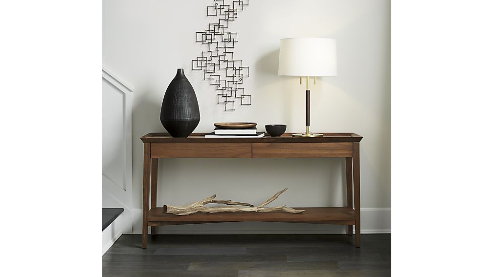 Bradley Walnut Console Table With Drawers Crate And Barrel Need This For Entry Metal Walls Metal Wall Art Home Decor