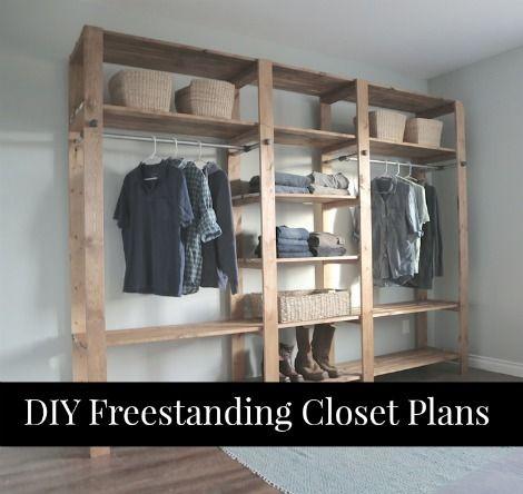 DIY Freestanding Closet Plans Wooden Closet, Wooden Wardrobe Closet, Pallet  Wardrobe, Rustic Closet
