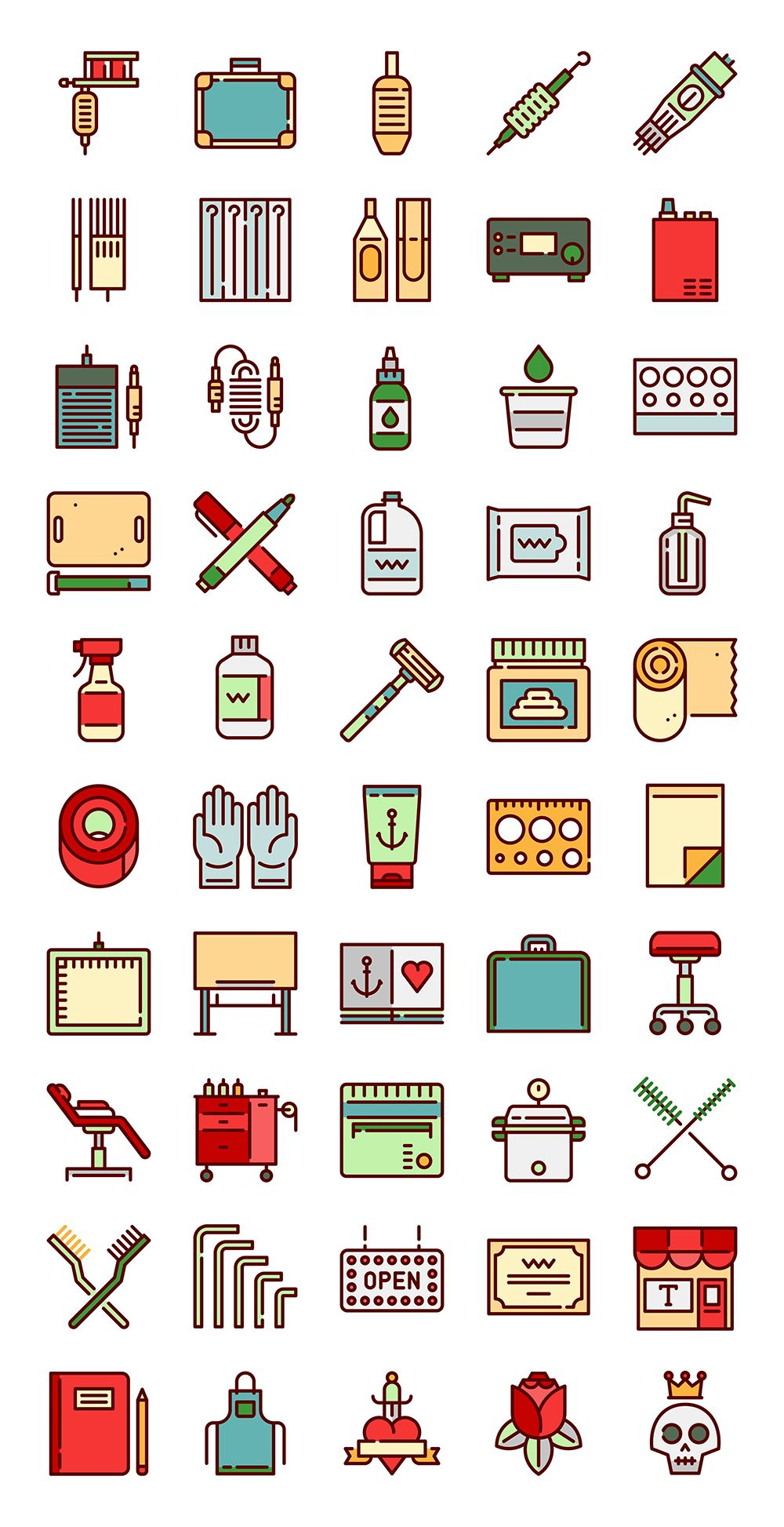 50 free vector icons of Linear Color Tattoo Studio