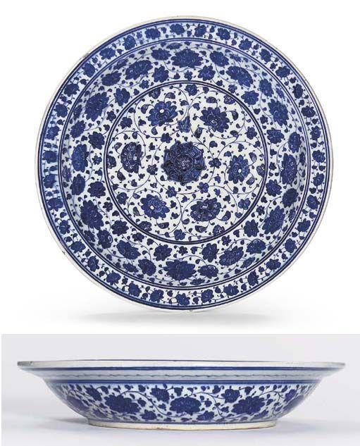 Iznik Tile Iznik Blue And White Pottery Dish C 1480 1500 Lot 101 Apr 06 White Pottery Pottery Pottery Dishes