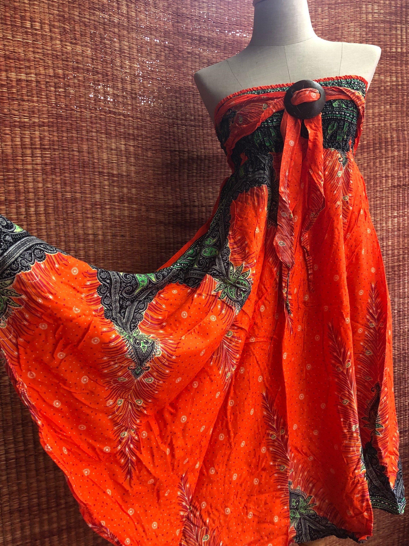 Peacocks Hippie Maxi Skirt Dress Boho Gypsy Bohemian style Coconut Beach Summer Festival fashion