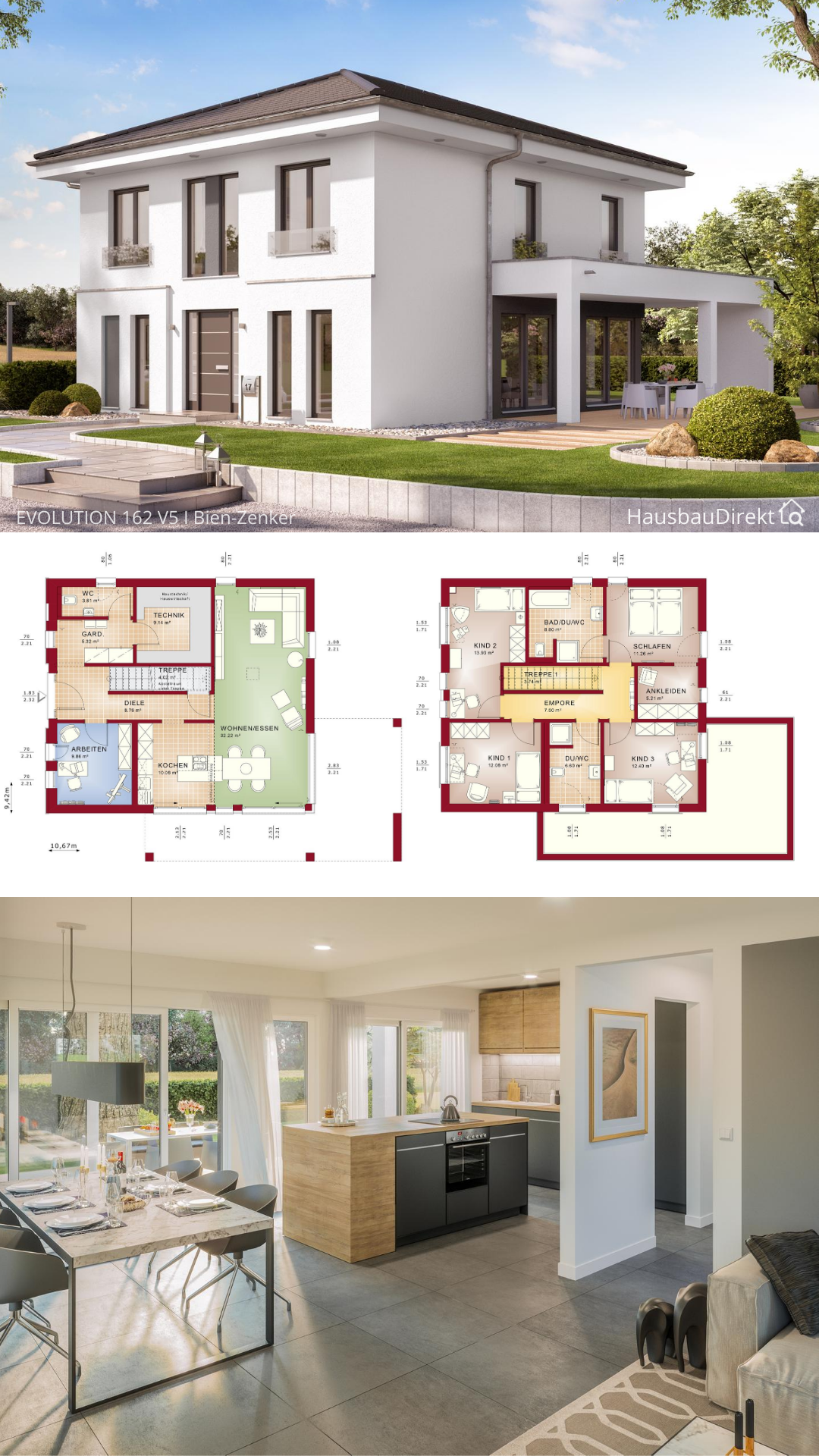 Moderne Stadtvilla weiss mit Walmdach & Putz Fassade bauen Haus Grundriss 160 qm gerade Treppe