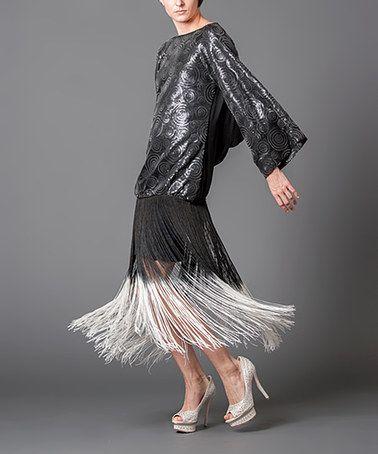 Look at this #zulilyfind! Black Fringe Drape-Back Drop-Waist Dress by Nuvula #zulilyfinds