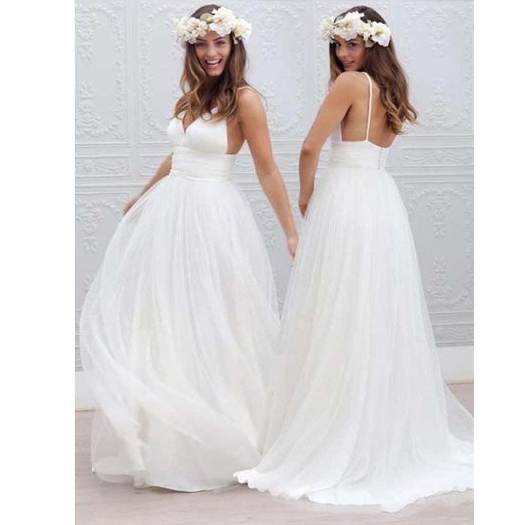 Hot sale simple white spaghetti straps vneck elegant wedding party