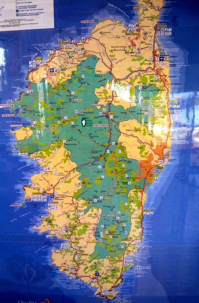 Corsica tourist map | Travel in Corsica France | Pinterest | Tourist ...