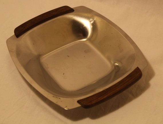 Mid Century Stainless Bowl w/ Wooden Handles by 820greenstreet