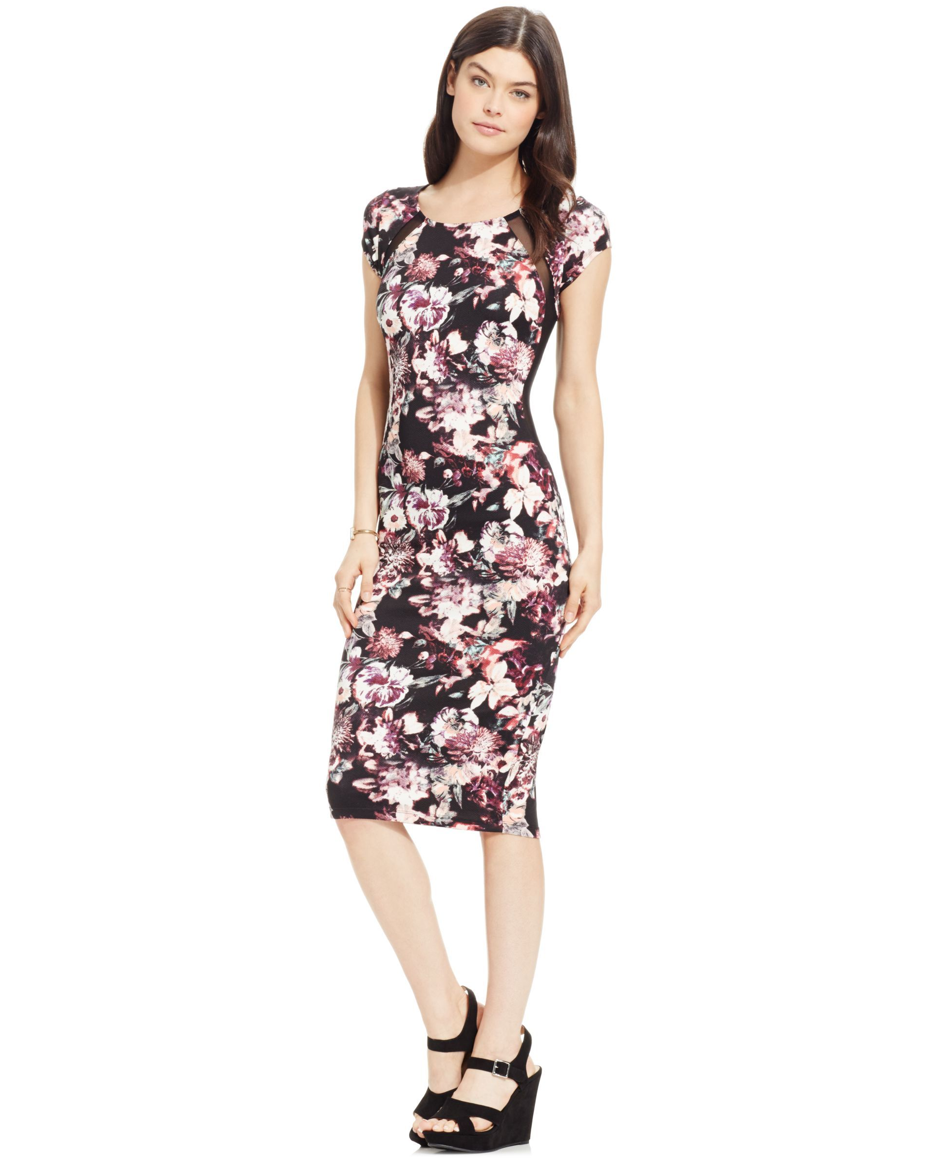 Material Girl Juniors' Printed Illusion-Detail Bodycon Dress, Only at Macy's