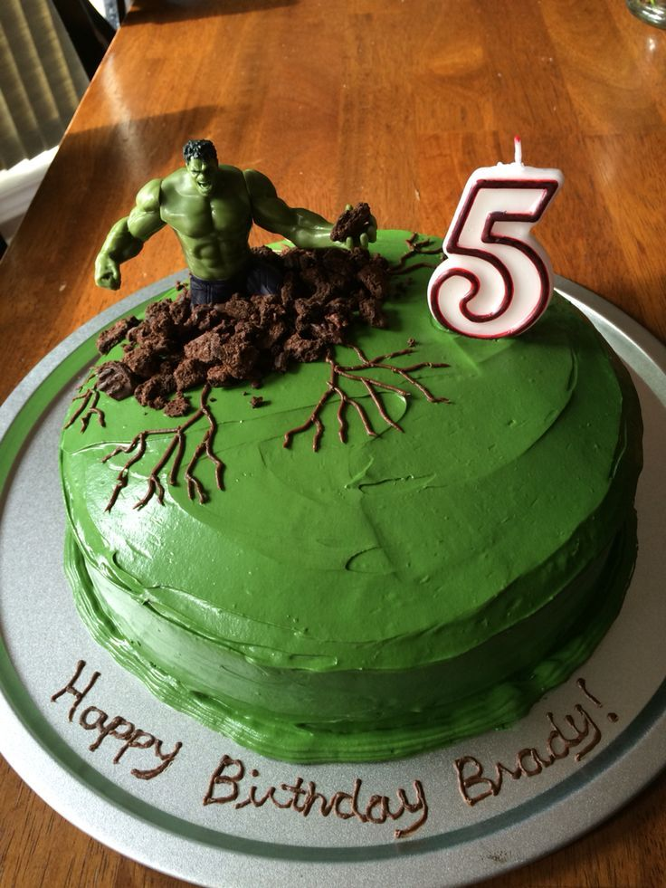 Easy Hulk Cake Green Buttercream Icing With Crushed Cookies Around Him My 5 Year Old Loved His