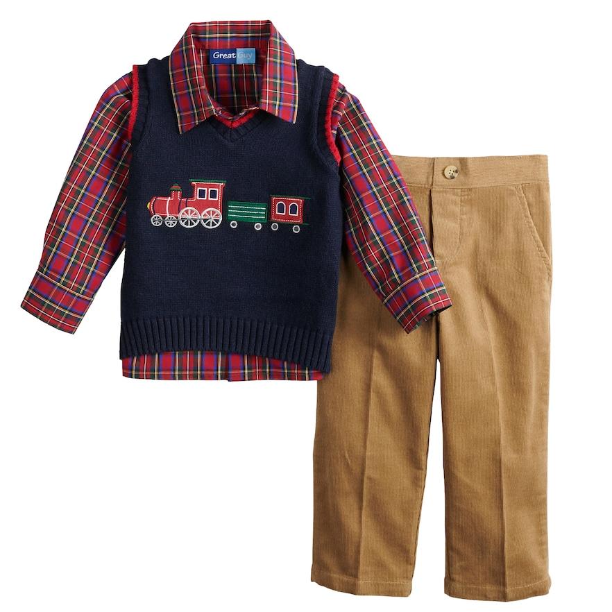Baby Boy Great Guy Train Sweater Vest Plaid Shirt Amp Pants