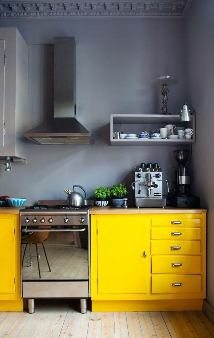 home ideas kitchen yellow kitchen cabinets gray wall color in 2020 kitchen design small on kitchen ideas yellow and grey id=65037