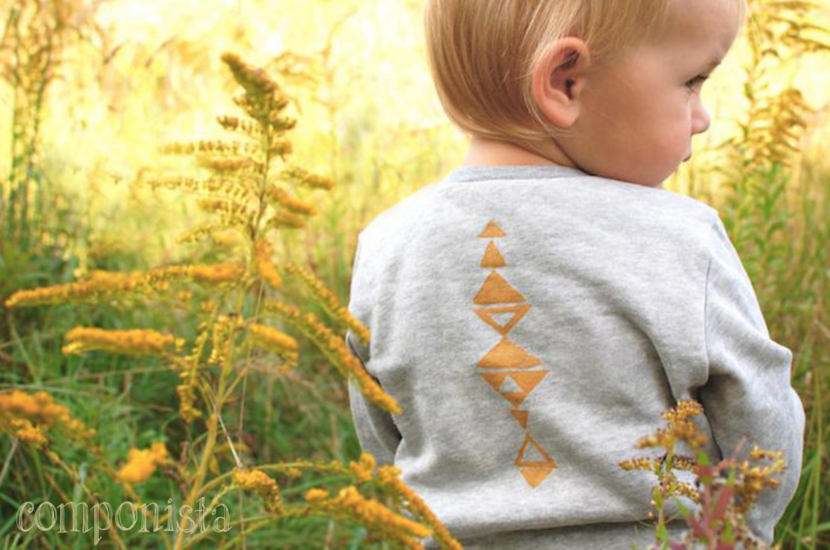 Baby biologische Babymode Pullover Gräser Print Ethno