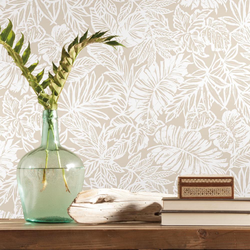 Roommates Batik Tropical Leaf Vinyl Peelable Wallpaper Covers 28 18 Sq Ft Rmk11435wp The Home Depot Peel And Stick Wallpaper Peelable Wallpaper Tropical Leaves