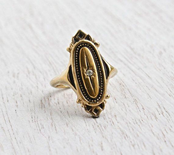 Vintage Art Deco Style Rhinestone Ring Adjustable Gold