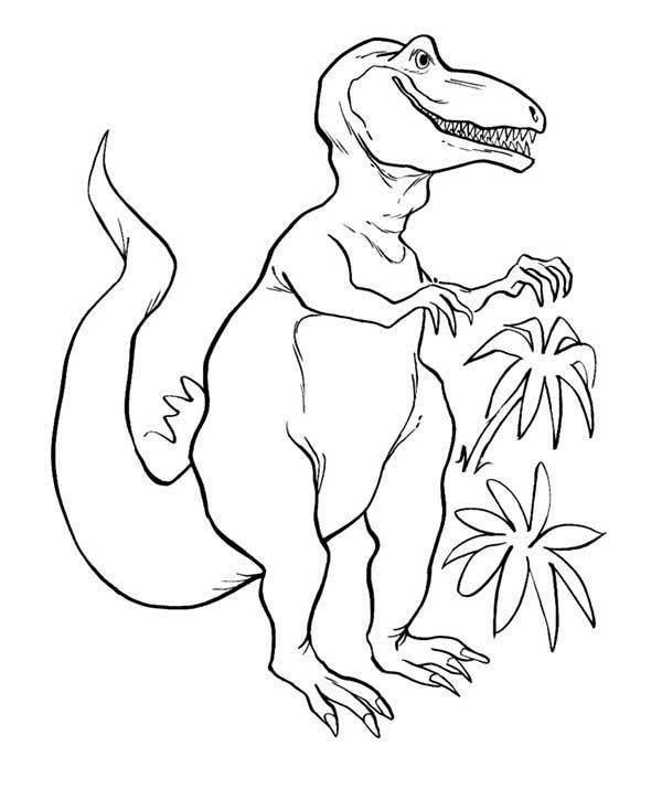 T-Rex, : T Rex in the Jungle Coloring Page | Color my world | Pinterest