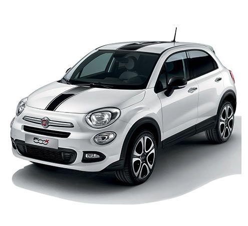 Fiat 500x City Look With Black Logo Stickers On Hood And