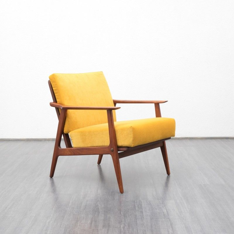 Teak Scandinavian armchair  1960s  Design Market is part of Scandinavian armchair - Armchair from the 1960s  Scandinavian style  Original innerspring cushion, professionally reupholstered and covered with a highquality velours fabric, warm sunflower yellow  Good condition with small traces of usage