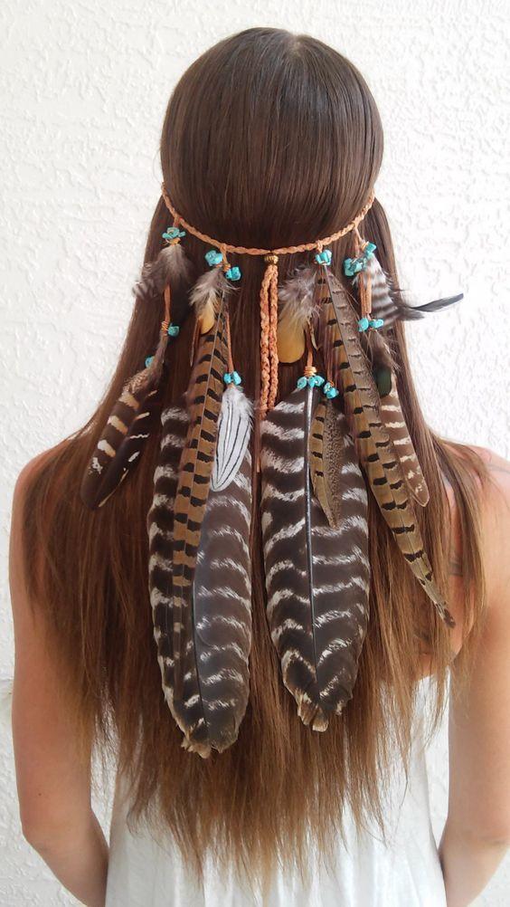 Boho Princess Feather Headband Tribal Bohemian Hippie Hippy Hair Band Gypsy Edm
