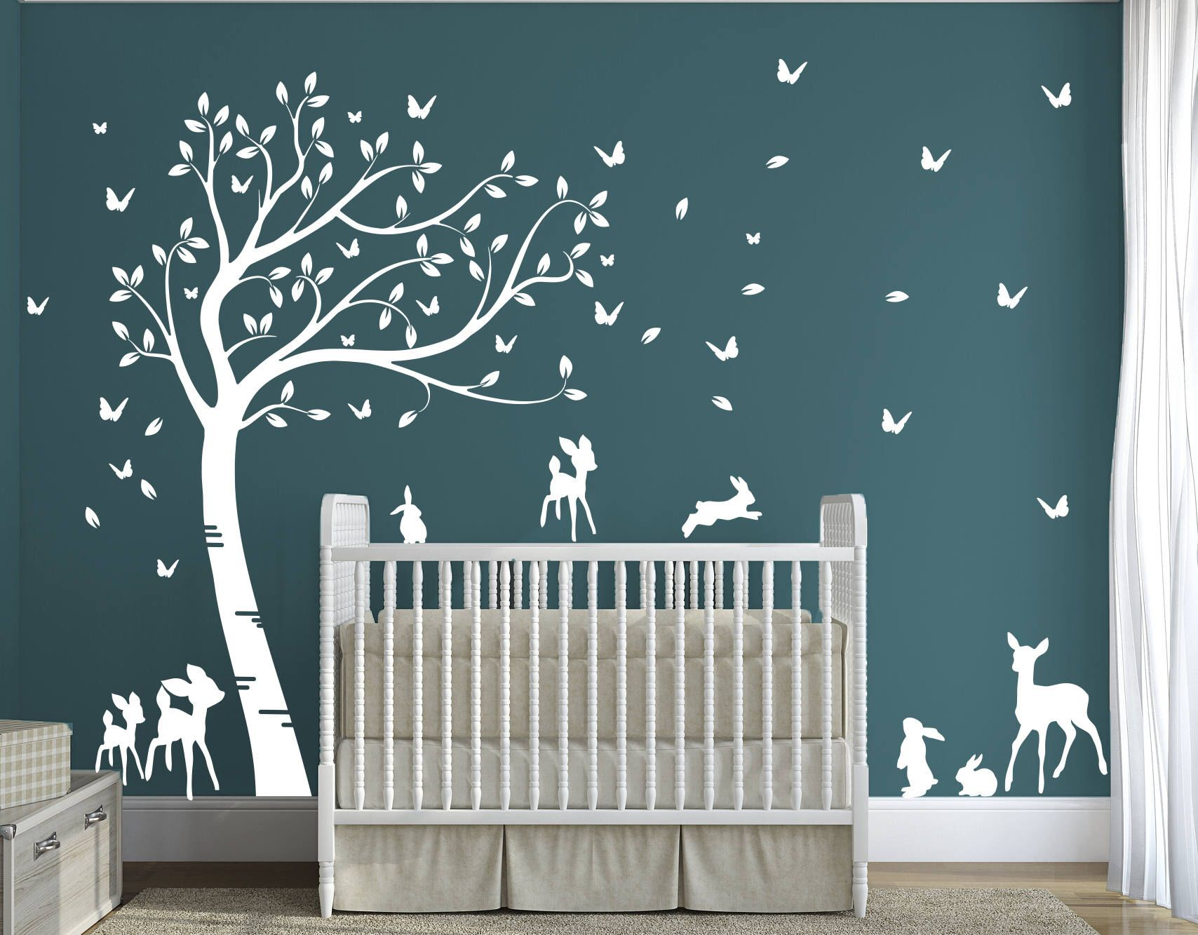 Sticker Mural Foret Bebe Ecureuil Accrochez Vous Kinderzimmer