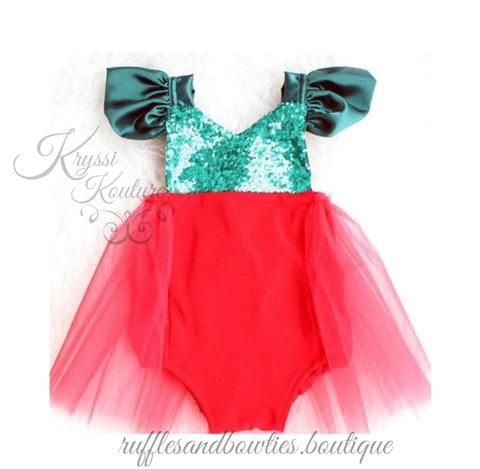 baf4efab5328 Red   Green Sequin Baby Girl Christmas Ruffle Tutu Romper - Christmas Outfit  - Baby Christmas Outfit for Photos - Smash Cake - 1st Birthday - Second ...