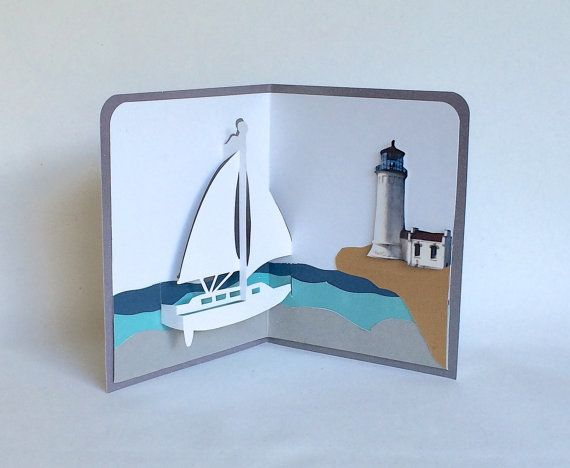 Sailboat And Lighthouse Nautical Pop Up 3d Card Home Decor Etsy Pop Up Cards Pop Up Pop Up Book