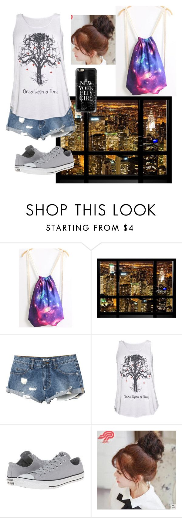 """New York"" by amelia-lopez ❤ liked on Polyvore featuring RVCA, Once Upon a Time, Converse, Pin Show and Casetify"