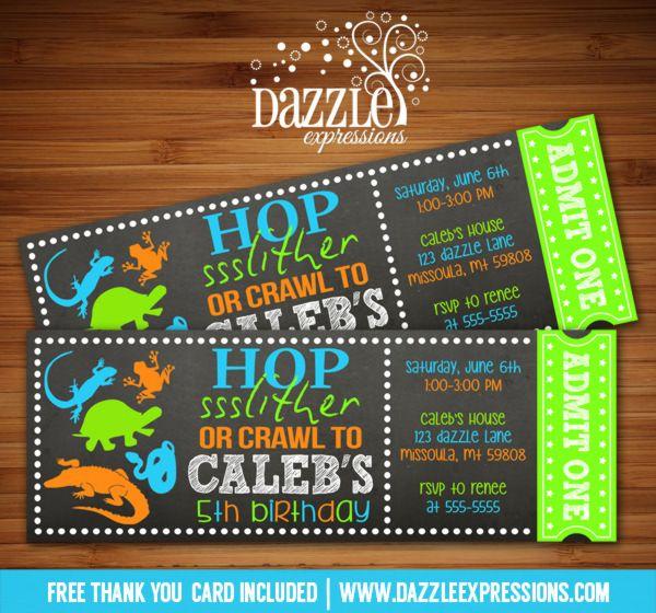 Printable Chalkboard Reptile Ticket Birthday Invitation Hop