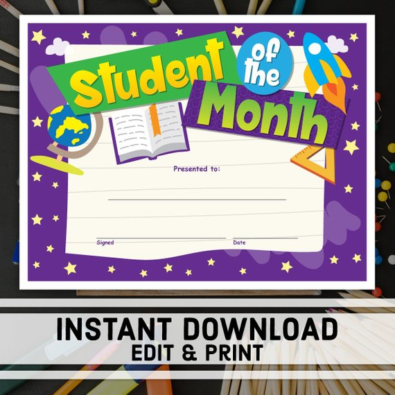Student Of The Month Certificate Instant Download Printable Award Editable Certificate Templat Student Of The Month Student Certificates Teacher Stickers