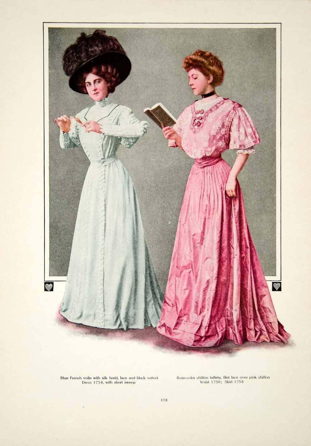 ce27a52fb34 1908 Color Print Fashion Costume Clothing Edwardian Women Dress Hat  Portrait