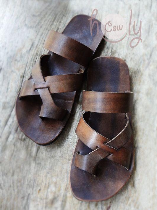 ad4eba52fb5db9 Handmade Brown Leather Sandals Mens Sandals Womens Sandals