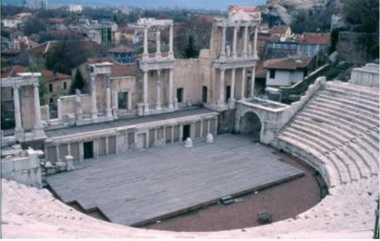 Dit is de arena die we bezoeken in Plovdiv. De arena werd gebouwd in de 19de eeuw.