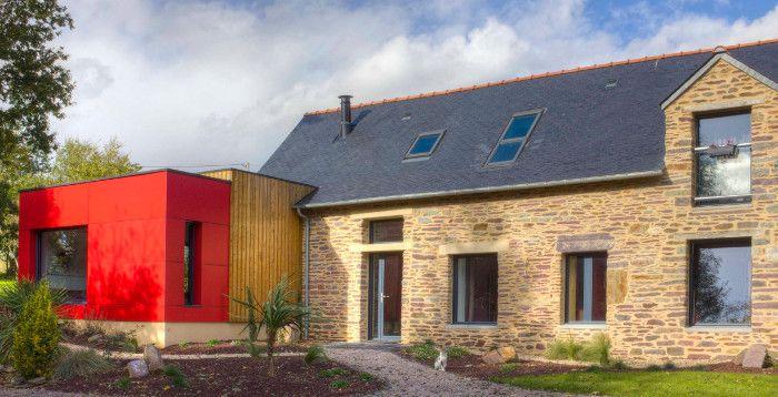 1- Extension maison rdc ossature bois bardage bois architecte rennes