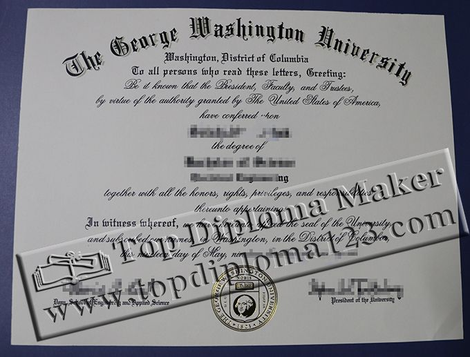 George Washington university(GWU) degree certificate, George - george washington resume