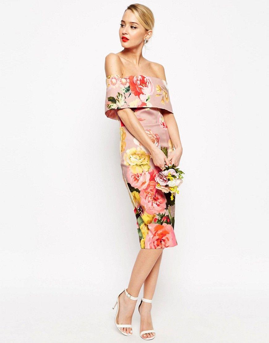 Asos wedding embellished floral drape back pencil midi dress - Summer Wedding Guest Dresses Bardot Midi Dressasos Weddingpencil