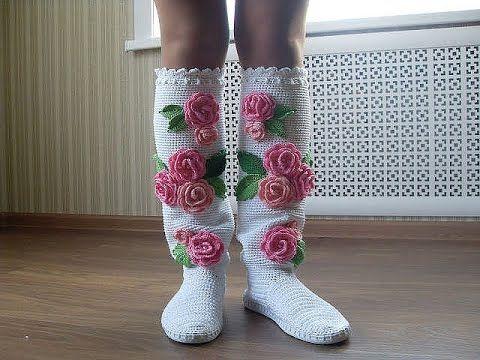 вязание крючком сапожки на подошве ажурный узор Crochet Boots