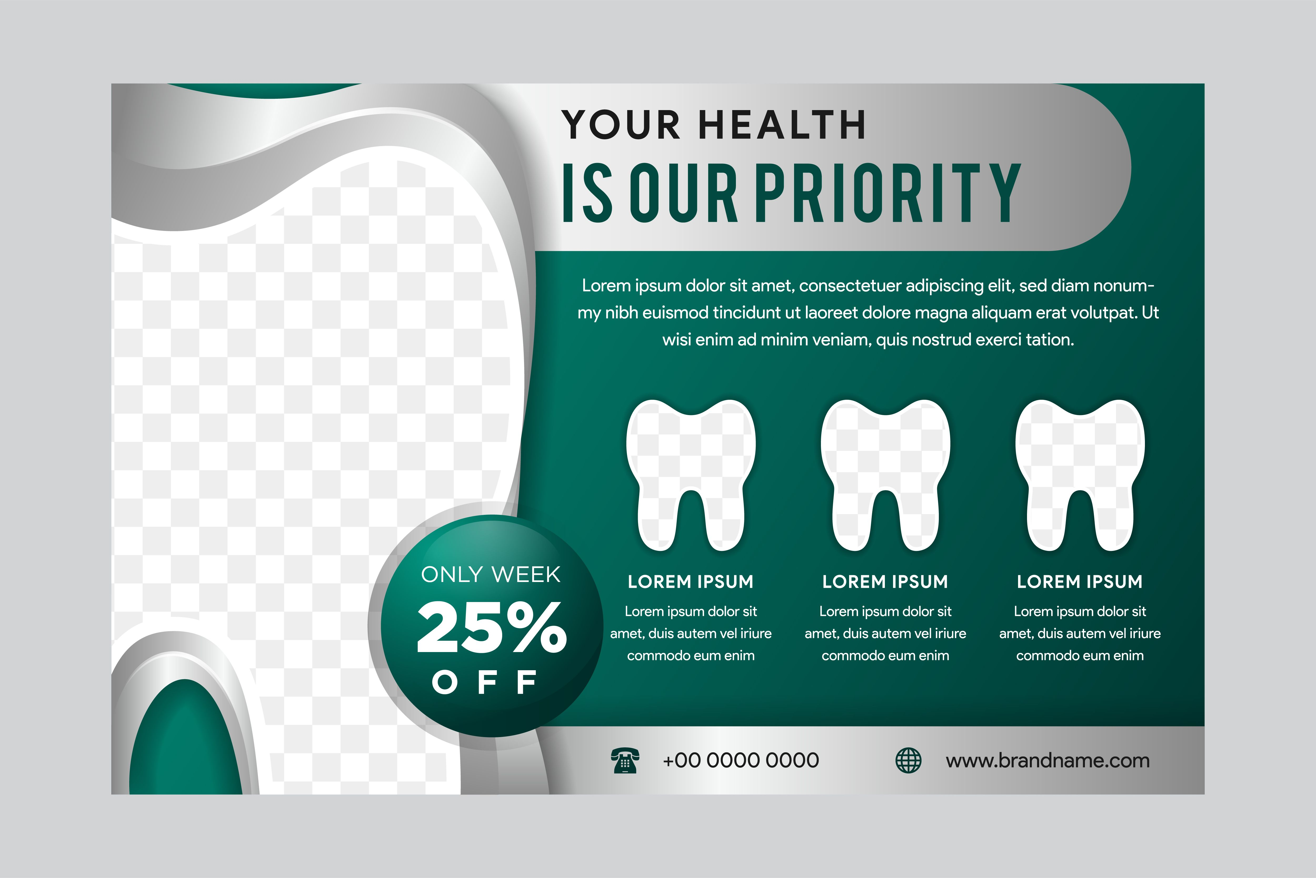Horizontal Flyer Dental Green (Graphic) by