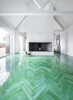 Green Tinted Polyurethane Floor