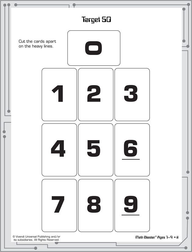 Target 50 - Printable Math Activities for Kids. cut out cards. each ...