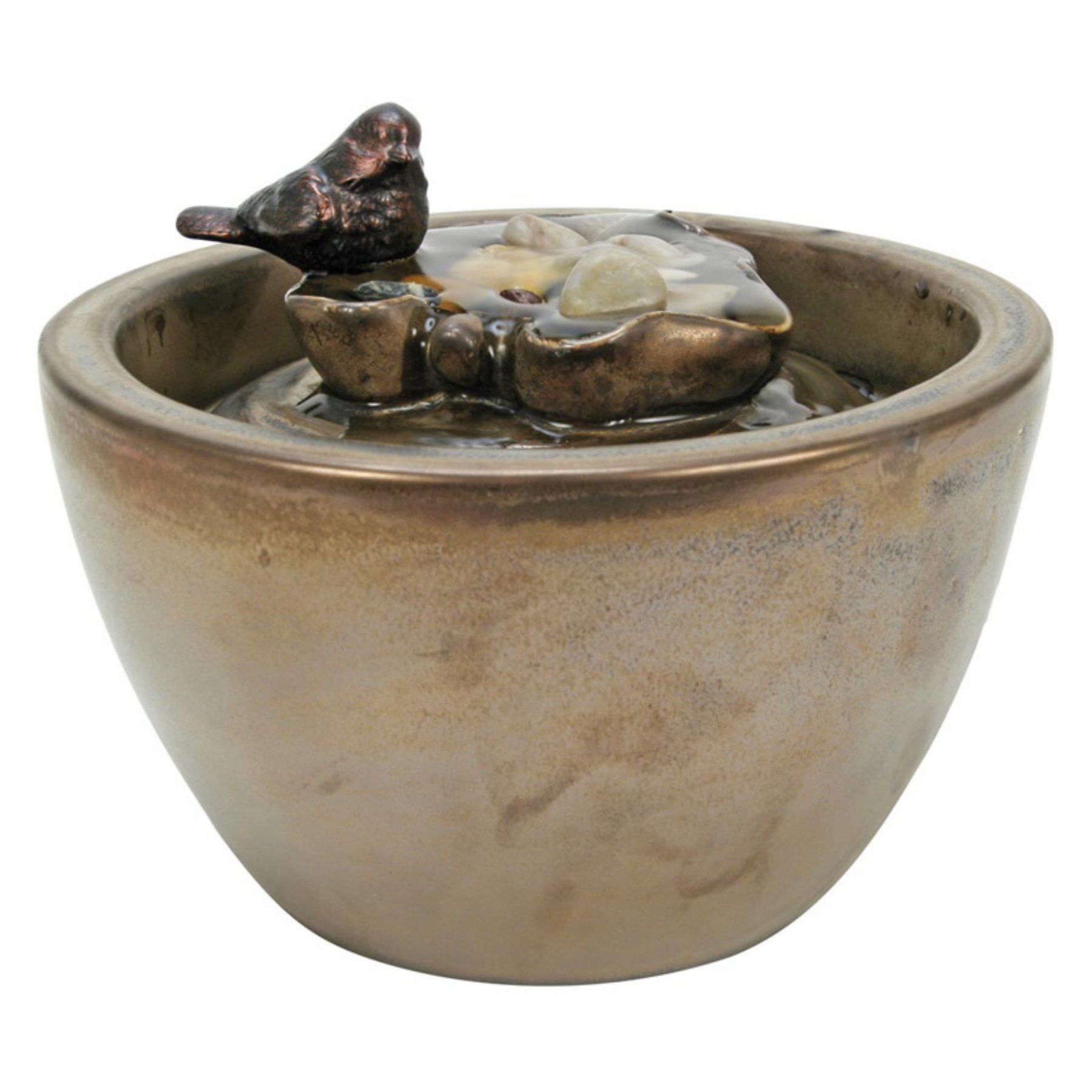 Foreside Home And Garden Sparrow On Leaf Ceramic Tabletop Fountain    CFTP50023