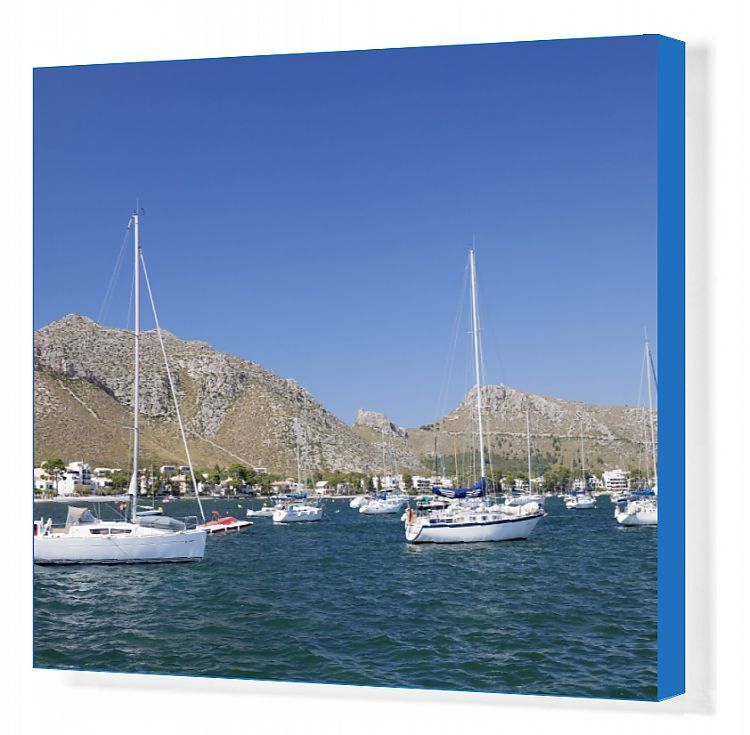 Canvas Print-View over the marina to Port de Pollenca, Pollenca, Majorca (Mallorca), Balearic Islands (Islas Baleares), Spain, Mediterranean, Europe-2