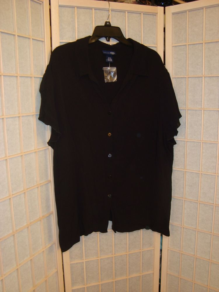 50380187821 New W Tag Venezia Jeans Sz 26 28 Dressy Black Top W Sheer Split Cap Sleeves   VeneziaJeans  ButtonDownDressyShirt
