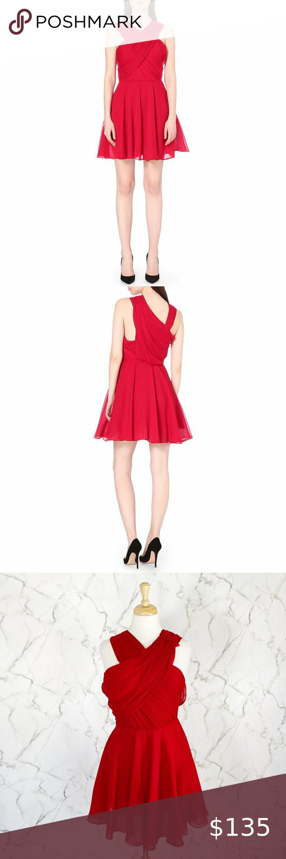 The Kooples Crossover Neck Crepon Dress Concealed Hook And Eye And Zip Fastening At Side Crossove Lace Dress Vintage Red Chiffon Dress Dress Size Chart Women