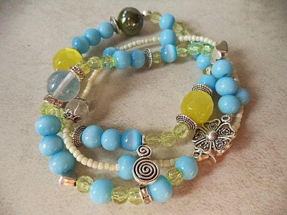 Stack bracelets Hawaii jewelry Stretch bracelet by ArilelJewelry