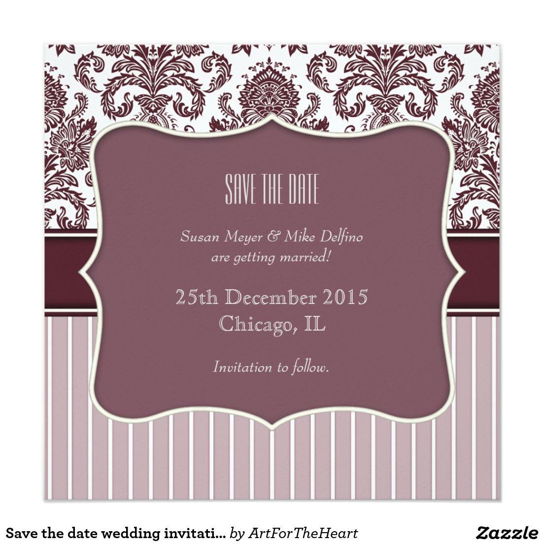 Save the date wedding invitation card purple | Wedding invitation ...