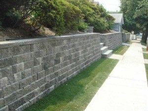 Retaining Wall Beside Sidewalk Outdoor Walks Stairs