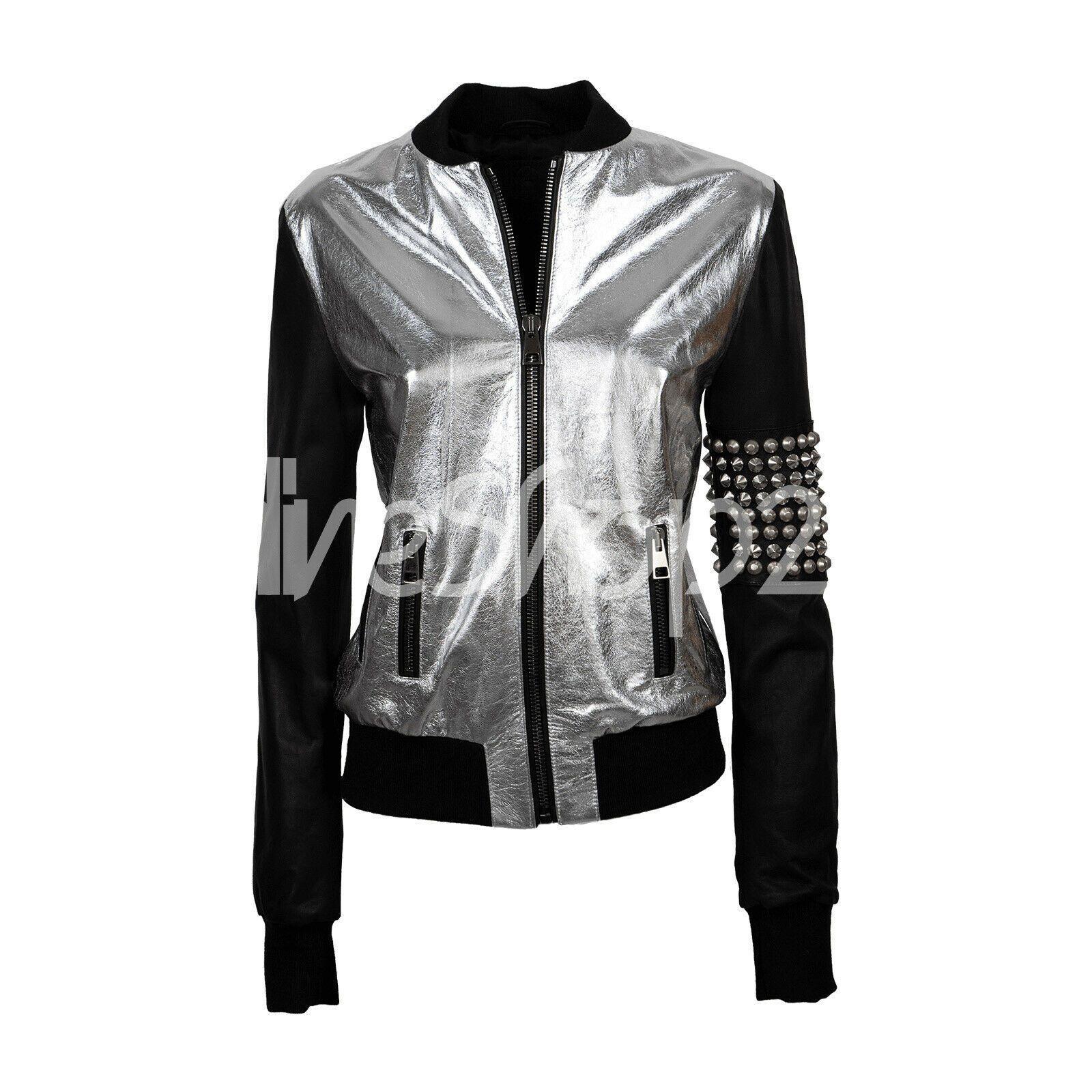 New Women Unique Black Silver Shiny Silver Studded Skull Biker Leather Jacket Leather Jacket Blue Jacket Men Jackets For Women [ 1600 x 1600 Pixel ]