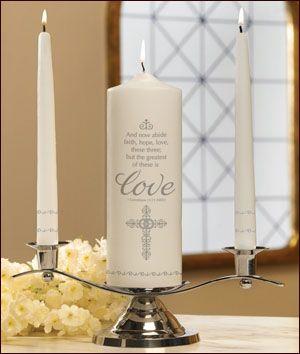 Faith, Hope and Love Wedding Unity Candle Set