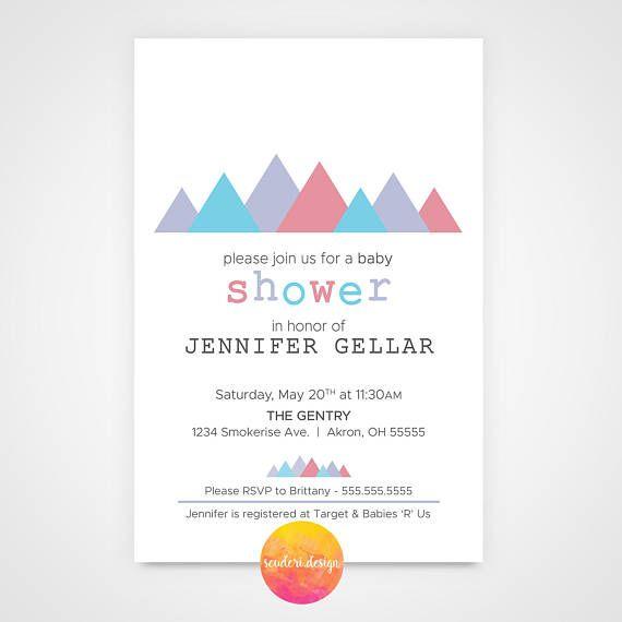 Baby Shower Invitation / Baby Sprinkle Invitation - Tribal, Mountain ...