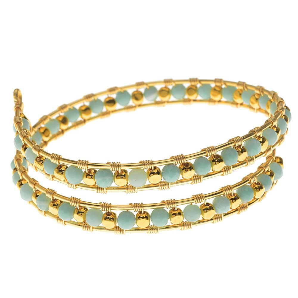 This wire wrapped bangle uses a figure 8 basket weave pattern with ...