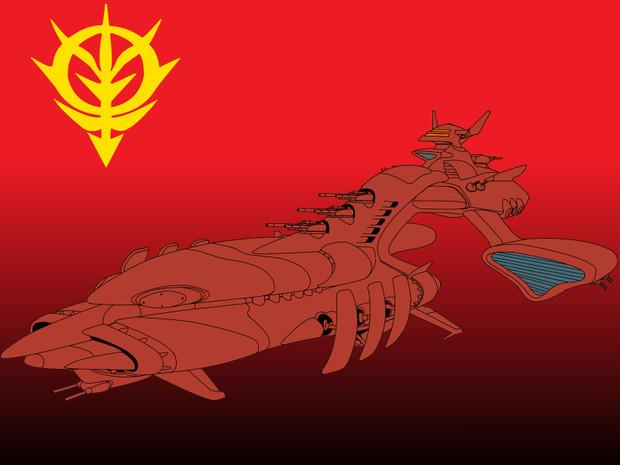 musai ムサイ後期型 シーマ艦隊用 akki 白軍 さんのイラスト ガンダム イラスト ムサイ イラスト