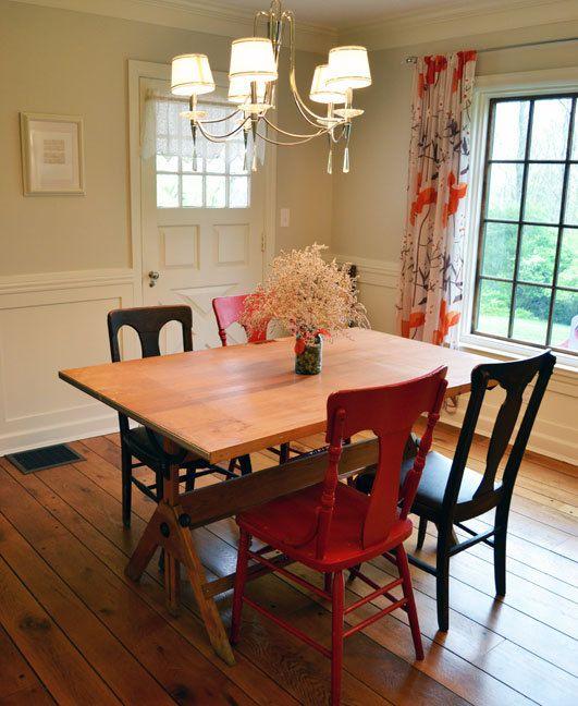 Vintage Tilt Top Drafting Desk Drawing Table Used As Dining Room